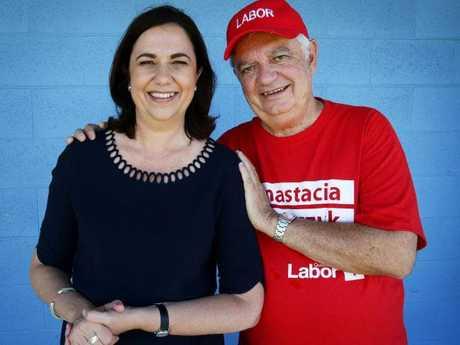 Annastacia Palaszczuk with her father Henry Palaszczuk. Picture: Liam Kidston.