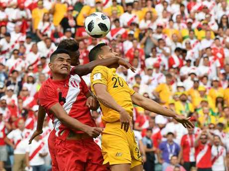 Sainsbury (R) impressed with his consistent displays during the Socceroos' World Cup campaign. Picture: AAP