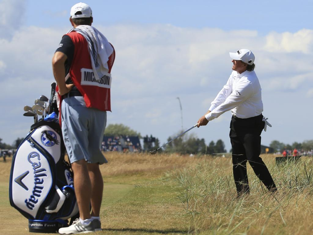 It was a tough day for Phil Mickelson who finished seven strokes off the lead. Picture: AP