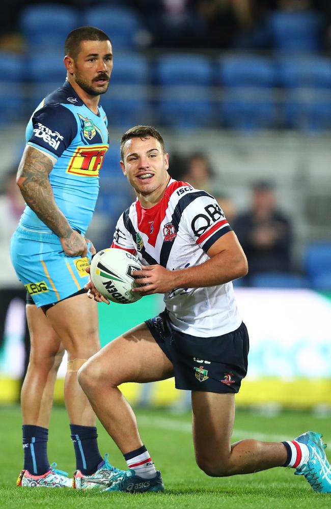 Sean O'Sullivan celebrates a try for the Roosters at Cbus Super Stadium last Sunday. Picture: Chris Hyde/Getty Images