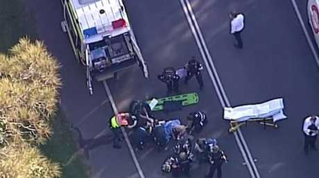 Emergency crews at the scene at Helensvale. Picture: 9 News Gold Coast