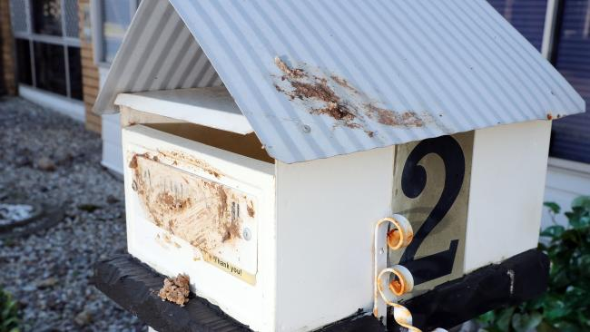 Excrement smeared on Frederick Griffiths' letter box. The excrement was also smeared on his sliding door. Photo by Richard Gosling