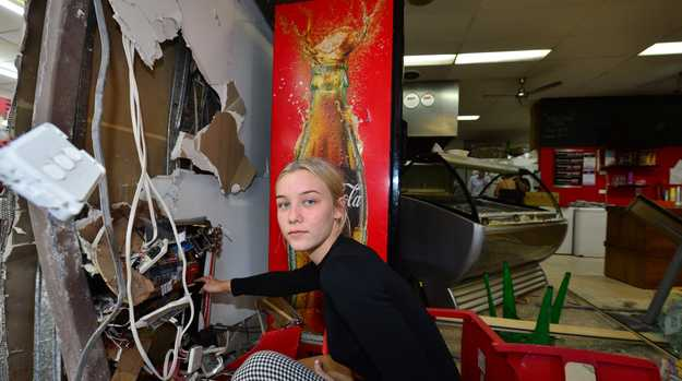 A car smashed into a pizza shop in Glasshouse Mountainbs and narrowly missed several employees. Frankie Js Pizza and Pasta workers Chloe Smithers , Alyssa Sullivan and Courtney Tucker were lucky not to have been injured when a four-wheel-drive crashed into their store while they were working.