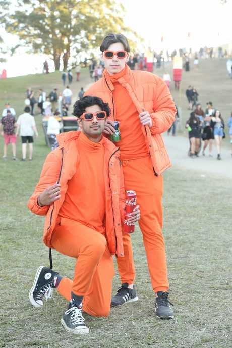 Varun Karnik and Jeremy Hunt twinning it up in bright orange.
