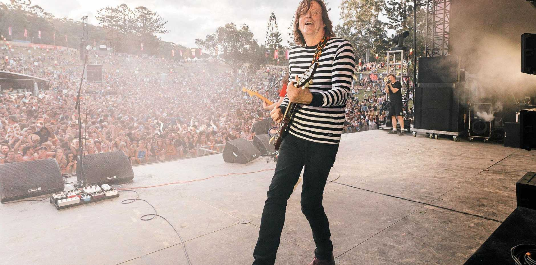 Former Red Wiggle Murray Cook on stage with DZ Deathrays at Splendour in the Grass 2018.