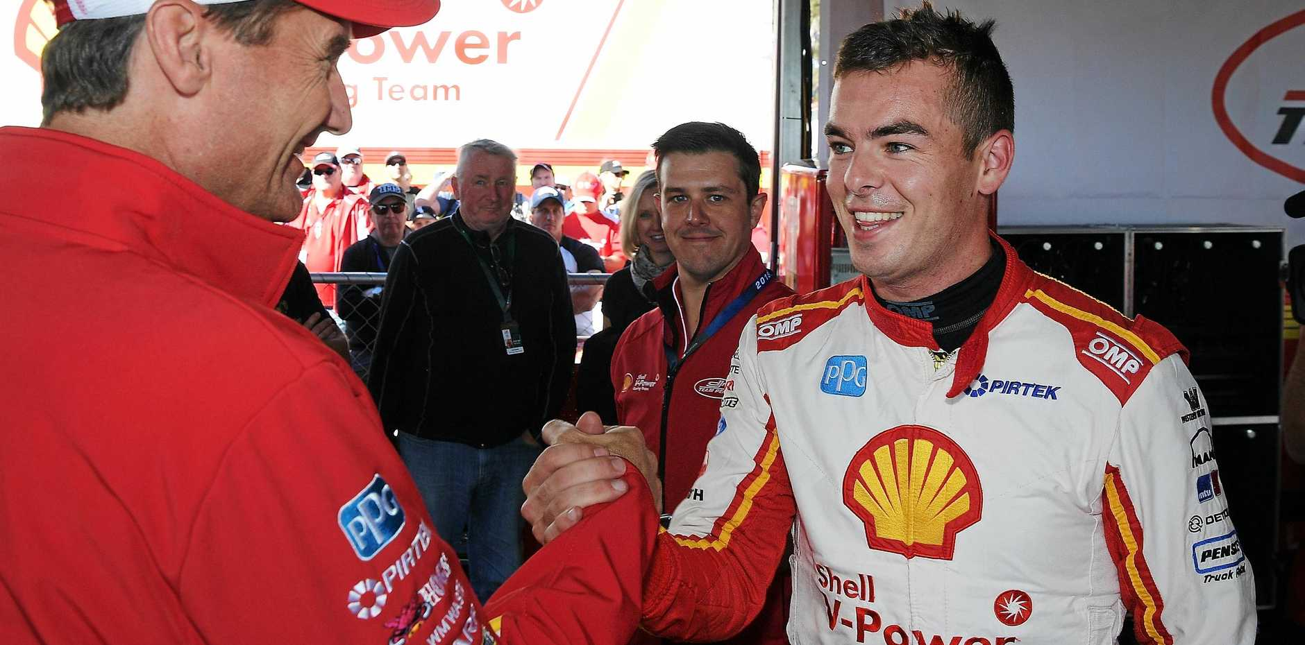 Penske Racing president Tim Cindric congratulates Scott McLaughlin on taking poll during qualifying for race 19 of the Supercars Ipswich SuperSprint. Picture: Daniel Kalisz/Getty