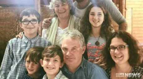 Peter Miles (centre) with his wife Cynda Miles (back), their daughter Katrina Miles (right) and her four children. Peter is believed to have shot his wife, his daughter and his daughter's four children in a murder-suicide in Osmington on Friday, May 11, 2018. Source: Channel 9.