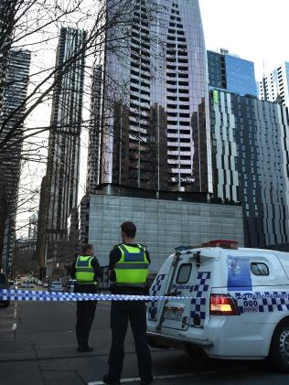 Police investigate after a woman was killed in Melbourne. Picture: Nicole Garmston.