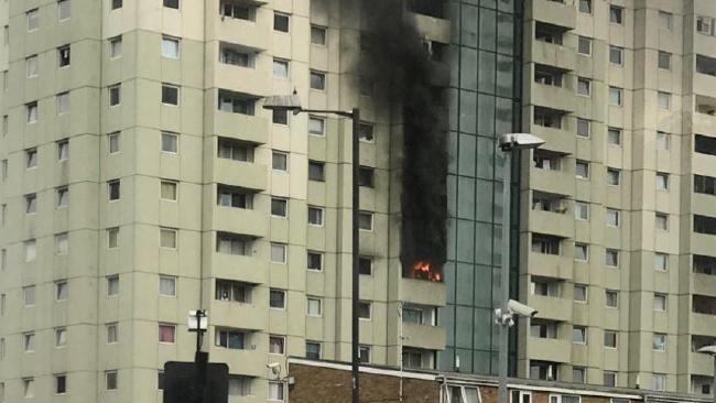 A fire ripped through a tower block in Edmonton Green, London, on Friday
