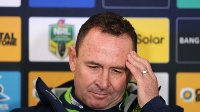 A frustrated Ricky Stuart speaks at the post-match press conference after the Raiders' loss to Cronulla on Friday night. Picture: Brett Costello