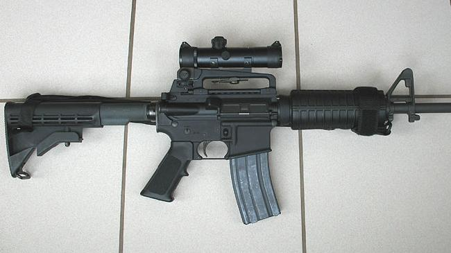 An AR-15 Colt Tactical Carbine assault rifle, similar to one of the weapons used by the gunman when he went on a shooting killing spree inside a movie cinema in Aurora, Colorado, US.