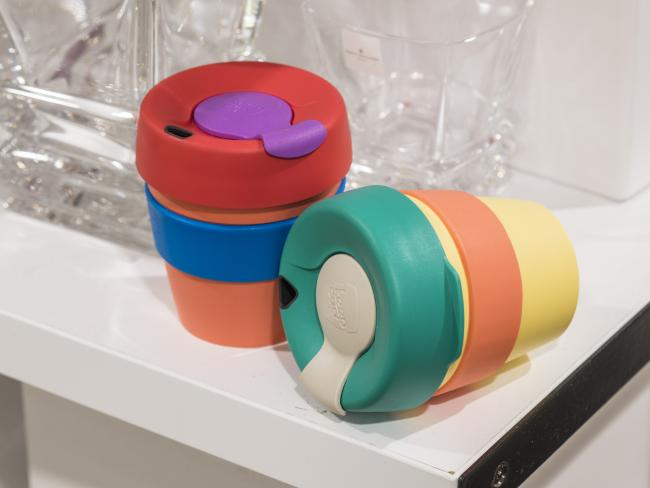 Colourful Keep Cups. Picture: Nick Clayton