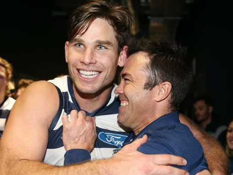 Geelong coach Chris Scott hugs Tom Hawkins after their win. Picture: Michael Klein