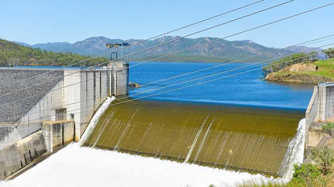 INFLUENCE: Awoonga Dam spilling on March 31, 2017.
