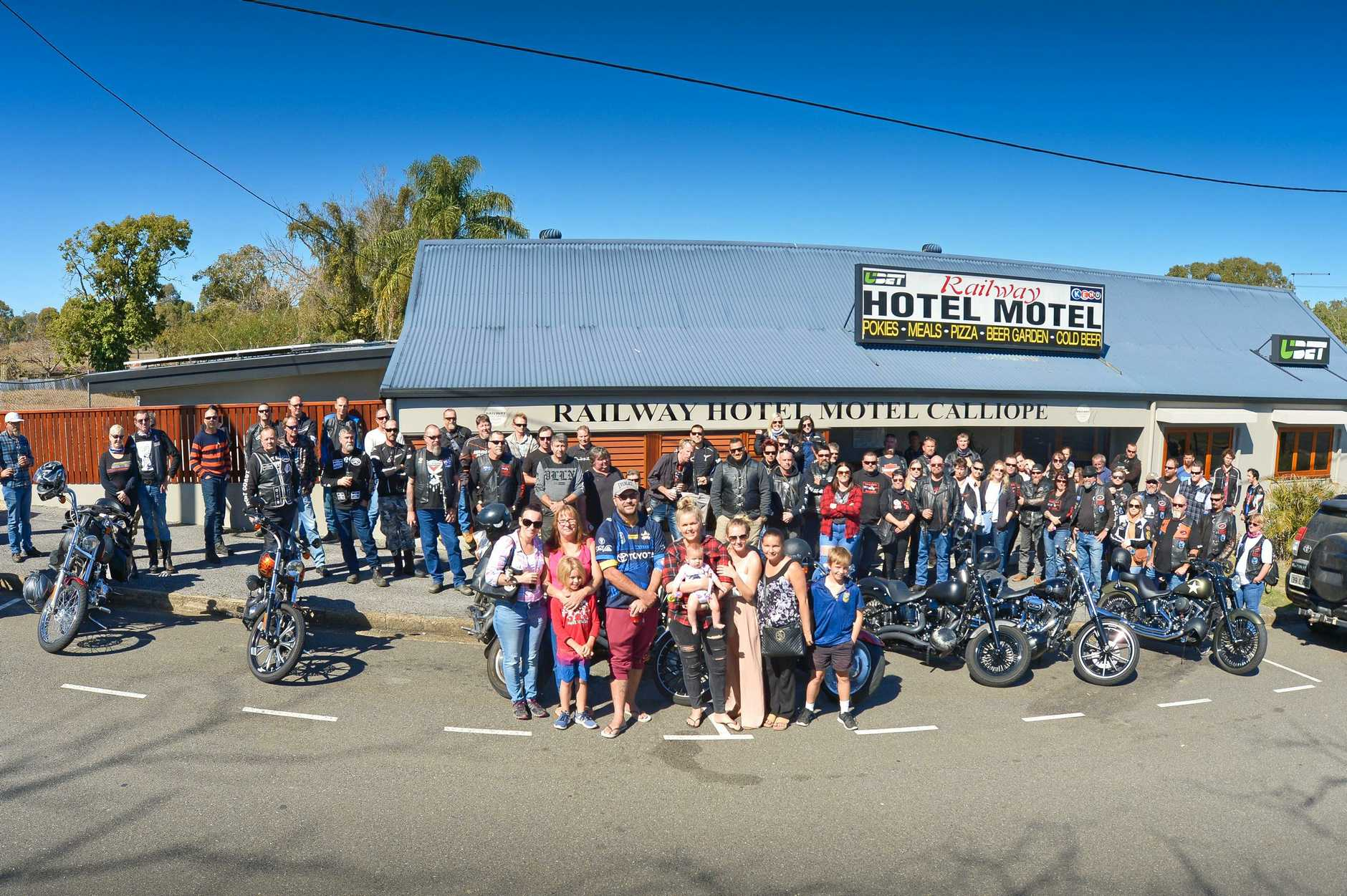 SUPPORT: Members of the Stone family and bike riders gathered at Calliope's Railway Hotel for a pit stop on the Ride For Bailey. It helped raise money to aid Bailey Stone (inset) who is in recovery.