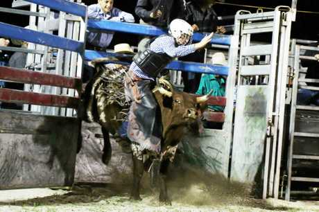 A bull leaves the chute in the Under-15 steer ride at Bullarama on Saturday.