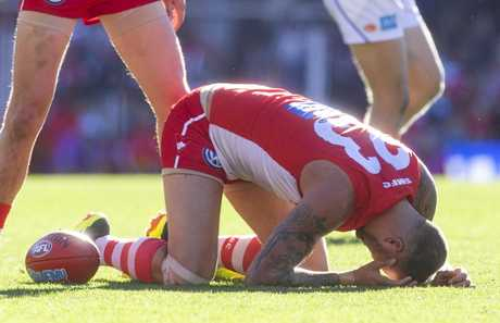 Lance Franklin had limited goal-scoring opportunities.