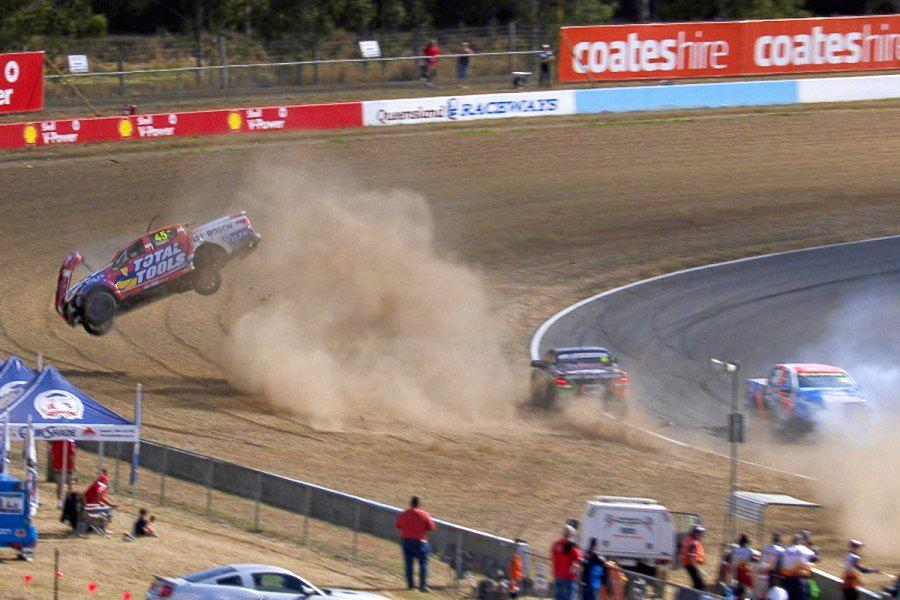 HIGH RISE: The first-lap of the final ECB SuperUtes race resulted in a mammoth rollover series debutant Michael Sieders.