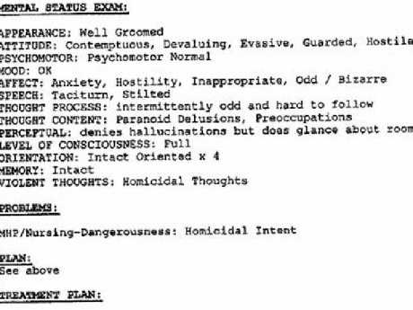 Psychiatric notes released to public. This one, a mental status exam, by Dr Fenton.