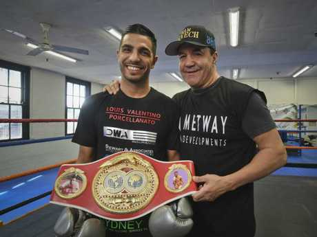 Boxer Billy Dib with his world champion belt and Jeff Fenech. Picture: Dominic O'Brien