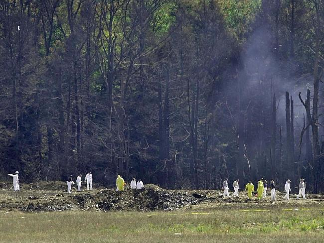 United Airlines Flight 93 crashed into a remote field 20 minutes from Washington DC, after passengers fought back against al-Qaeda hijackers on September 11, 2001. Picture: AFP Photo/David Maxwell