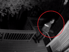 The 'peeping Tom' caught on a security camera outside a college students house. Picture: Supplied