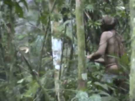 Video footage shows rare images of a so-called lone indigenous man. Picture: AP