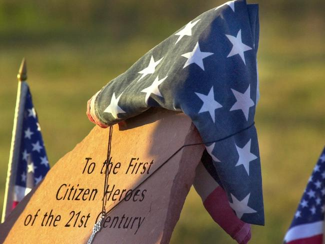 A temporary memorial at the crash site in Shanksville, Pennsylvania called the passengers 'The first citizen heroes of the 21st century.' Picture: AP PicGene/Puskar