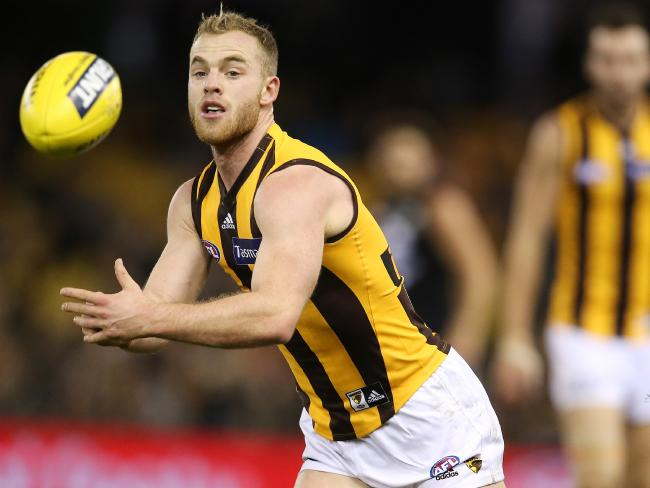 Tom Mitchell finished with 46 disposals. Picture: Michael Klein