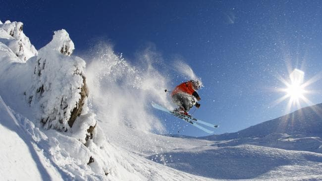 Skier traversing down a mountain at Mt Hutt in New Zealand. Picture: Miles Holden.