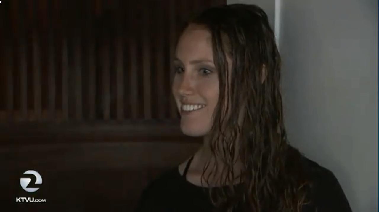 'Peeping Tom' victim Nikki Sherry speaks to KTVU about a man peering through her bedroom window. Picture: KTVU