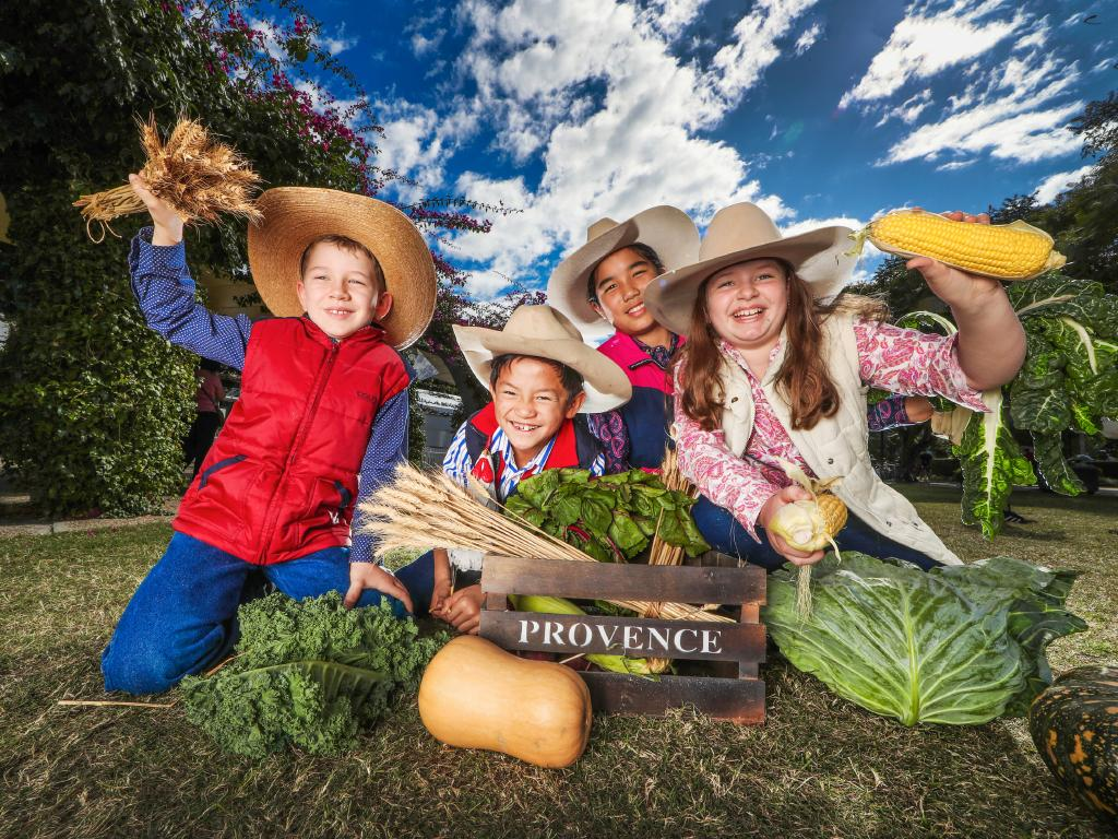 Hugh Lyons, Hugh O'Dea, Jia O'Dea and Sophia Lyons came all the way from Charters Towers, in north Queensland to visit the Regional Flavours Festival at South Bank on Sunday. Picture: Nigel Hallett
