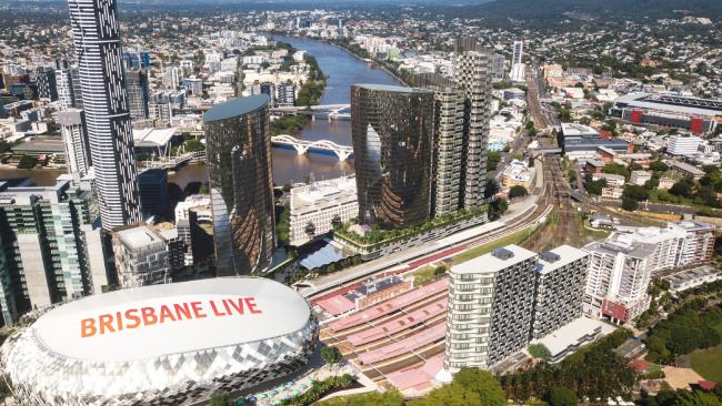 An artist's impression of the Brisbane Live precinct that will transform the area around the Roma Street Station.