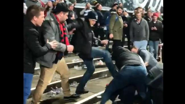 Footy fans brawled at GMHBA Stadium after Geelong's win over Melbourne.
