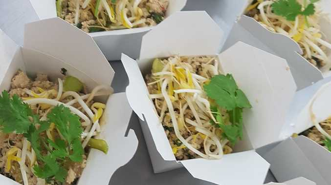 The school has revamped the canteen menu to tasty, healthier dishes including this Asian stir-fry with vegetables and rice noodles.