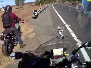 WATCH: High speed bikers fall foul of unmarked police patrol