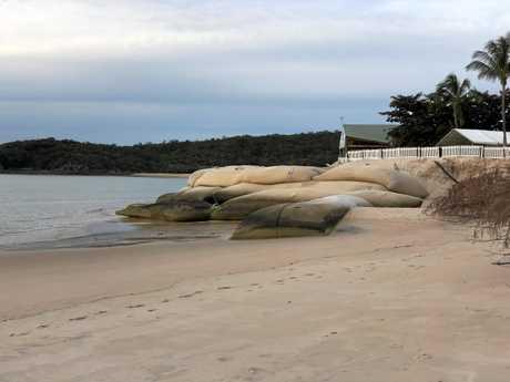 BEACH VIEW: Putney beach view of sand bags.