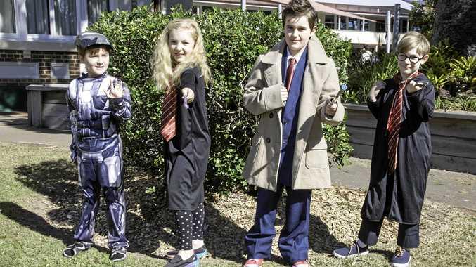 POP CULTURE FUN: Archer Mattson, 6, Eloise Tinker, 10, Sawyer Mattson, 9, and Jacob Tinker, 8 at FraserPop on Saturday.