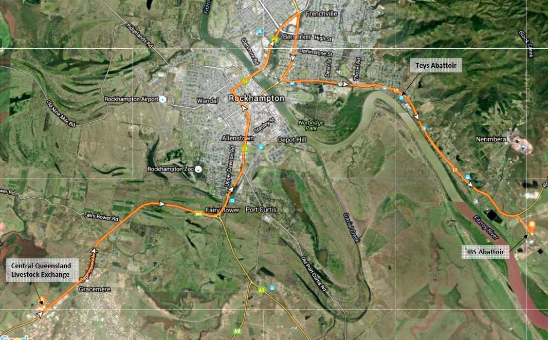 ROAD UPGRADE: The expected route of the the Rockhampton Road Train Access upgrade, to provide improved access to the Abattoirs on Emu Park Rd from the Central Queensland Livestock Exchange.
