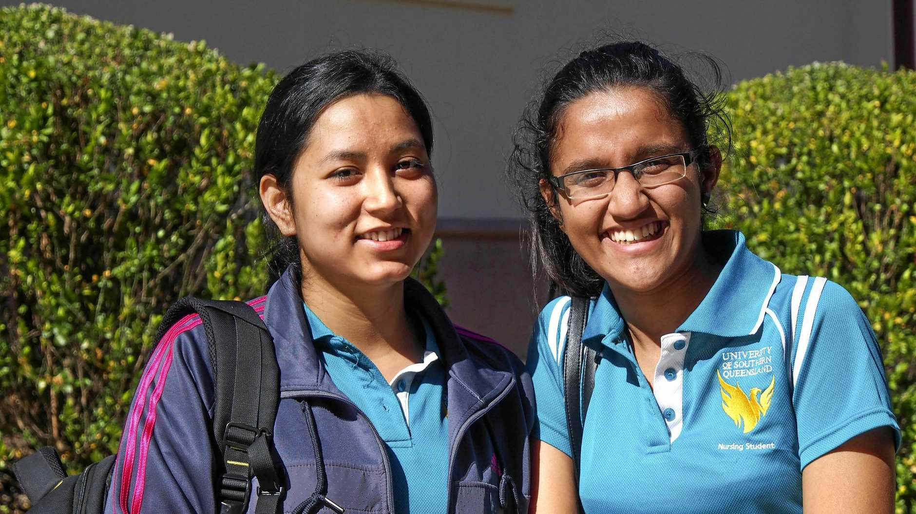 USQ international students Samikshya Paudel and Nisha Thapa moved to Australia from Nepal to study nursing in Queensland.