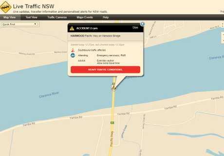 The crash has occurred on the Harwood bridge.