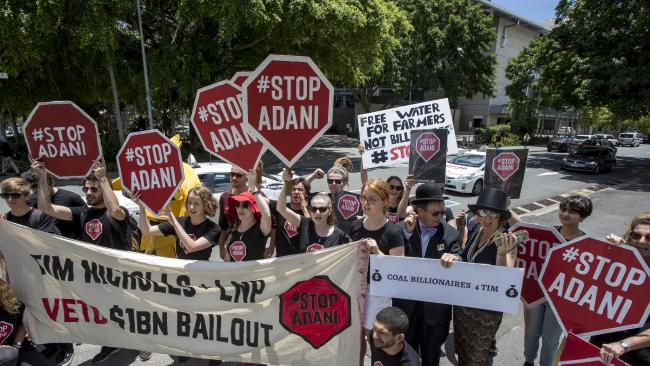 Protestors against the Adani coal mine. Image: AAP/Glenn Hunt.