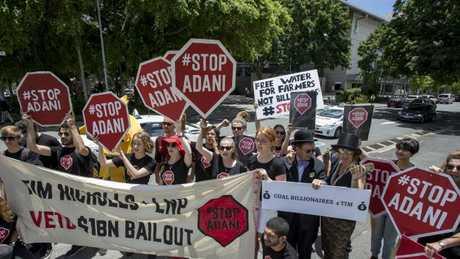 Protestors against the Adani coal mine. Image: AAP/Glenn Hunt.