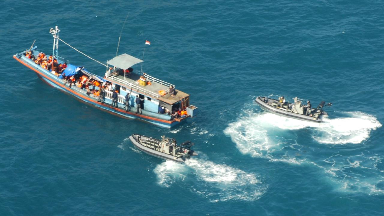 A vessel carrying seven asylum seekers is intercepted off Ashmore Island in April.