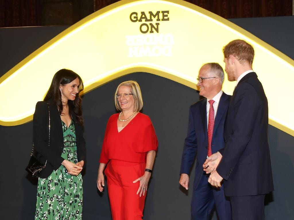 Prince Harry and Meghan Markle attend Invictus Game reception at Australia House in London hosted by the Prime Minister of Australia Malcolm Turnbull and his wife Lucy. Picture: Ella Pellegrini