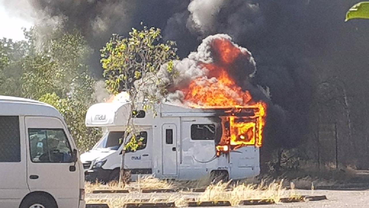 The French tourists' caravan engulfed in flames at Cahills Crossing on Sunday. Picture: Supplied.