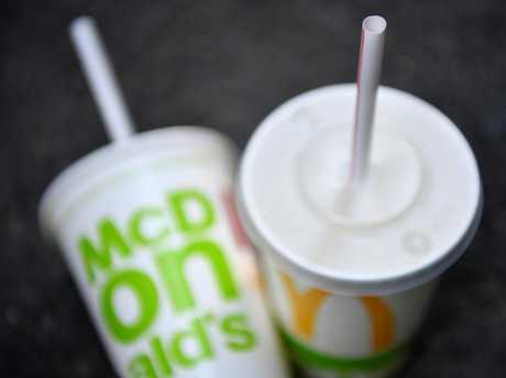 McDonald's will trial paper straws next month, with the long-term plan set to be rolled out at all 970 restaurants around Australia by 2020. Picture: AAP Image.