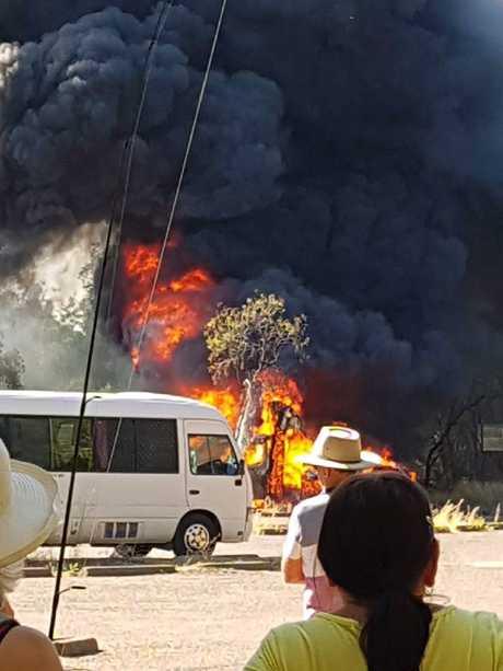 The van fully ablaze