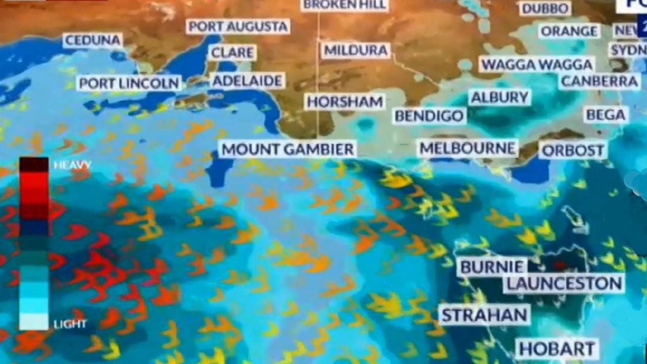 A huge cold front powering in from the Great Australian Bight will bring wet weather and damaging winds to southern states on Monday and Tuesday. Picture: Sky News Weather