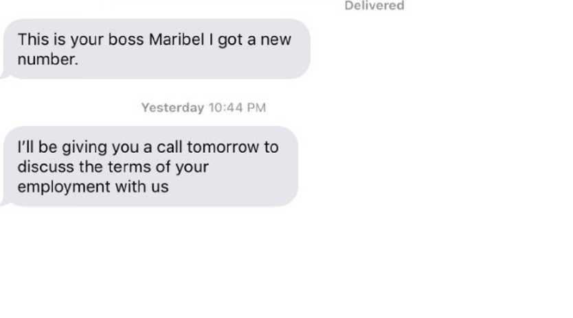 Last week, Cory Hrobowski was forced to resign from his job at a web design company following an awkward text exchange with his boss. Picture: Twitter